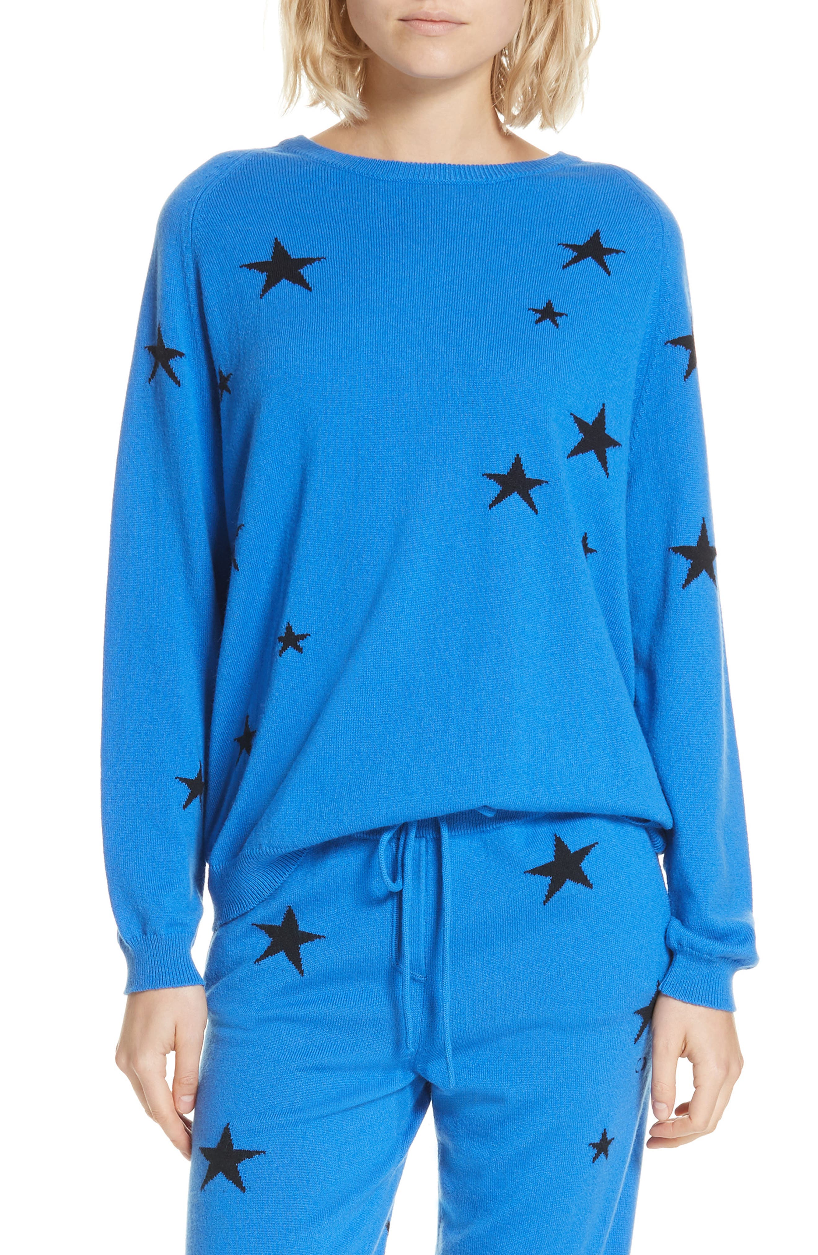 Chinti & Parker Star Cashmere Sweater, Blue