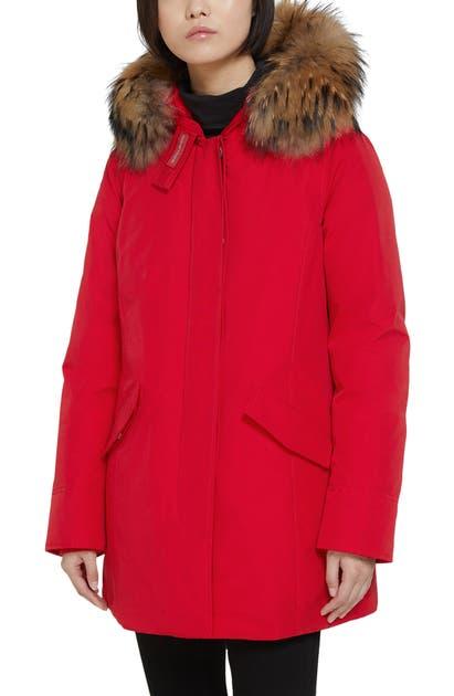 Woolrich Arctic Down Parka With Genuine Coyote Fur Trim In Marine Scarlet