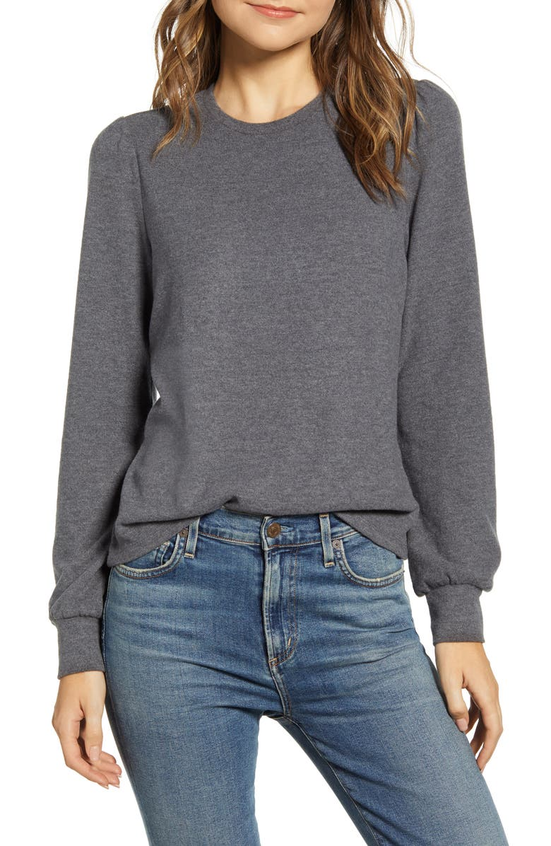 LUCKY BRAND Cloud Jersey Femme Sleeve Sweater, Main, color, CHARCOAL