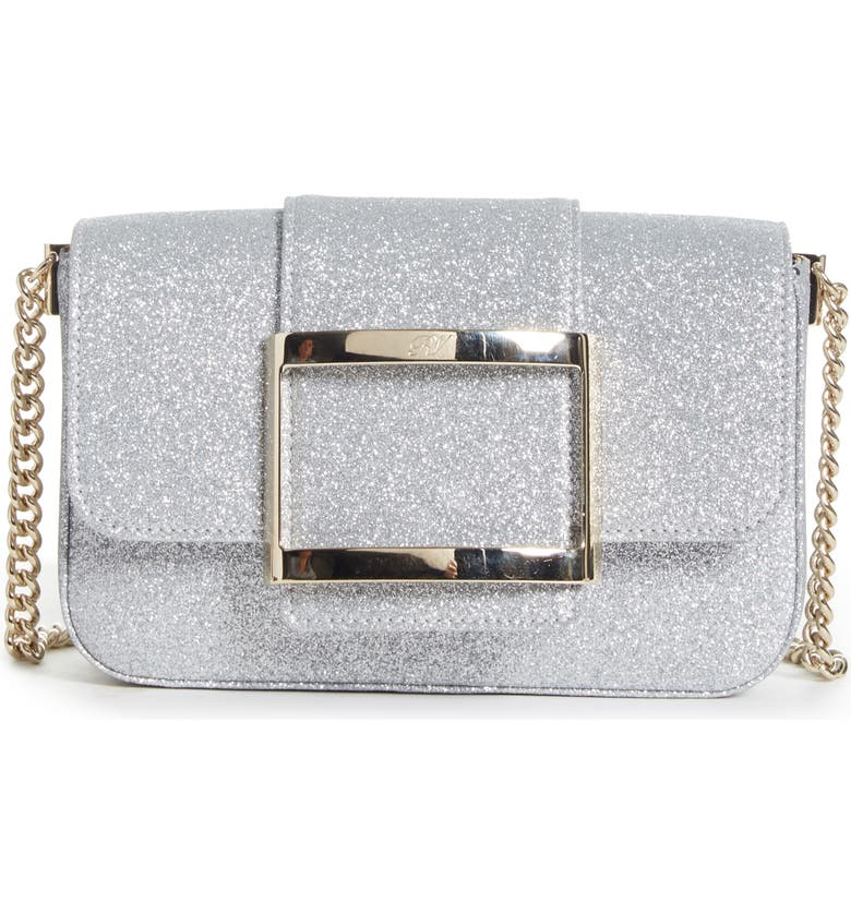 ROGER VIVIER Très Vivier Glitter Crossbody Bag, Main, color, ARGENTO