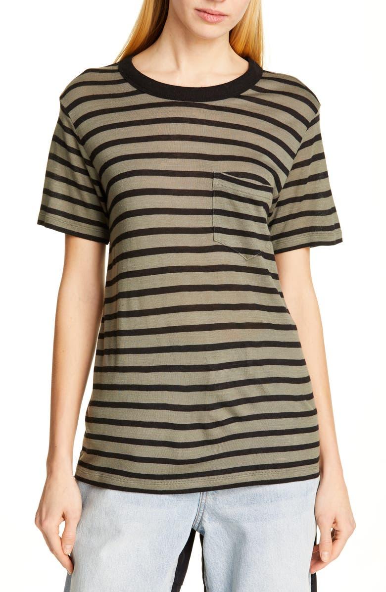 ALEXANDERWANG.T Stripe Slub Jersey Tee, Main, color, CARGO/ BLACK