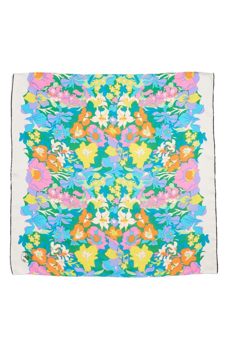 MANTERO Twiggy Silk Scarf, Main, color, TURQUOISE