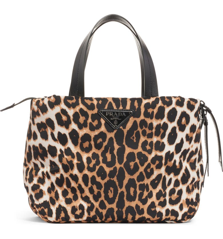 PRADA Leopard Print Nylon Top Handle Bag, Main, color, 203