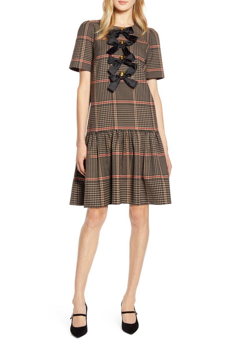 X Atlantic Pacific Bow Detail Plaid Dress by Halogen®