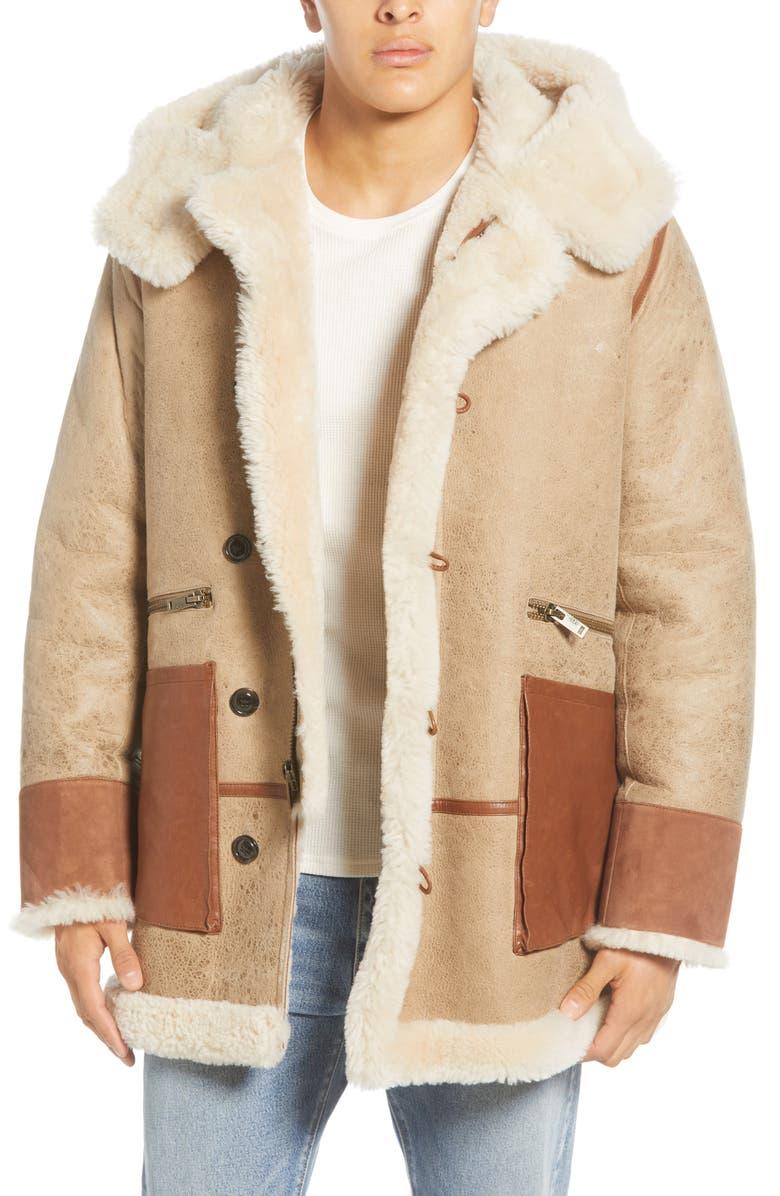 UGG<SUP>®</SUP> Yates Genuine Shearling Hooded Parka, Main, color, SAND