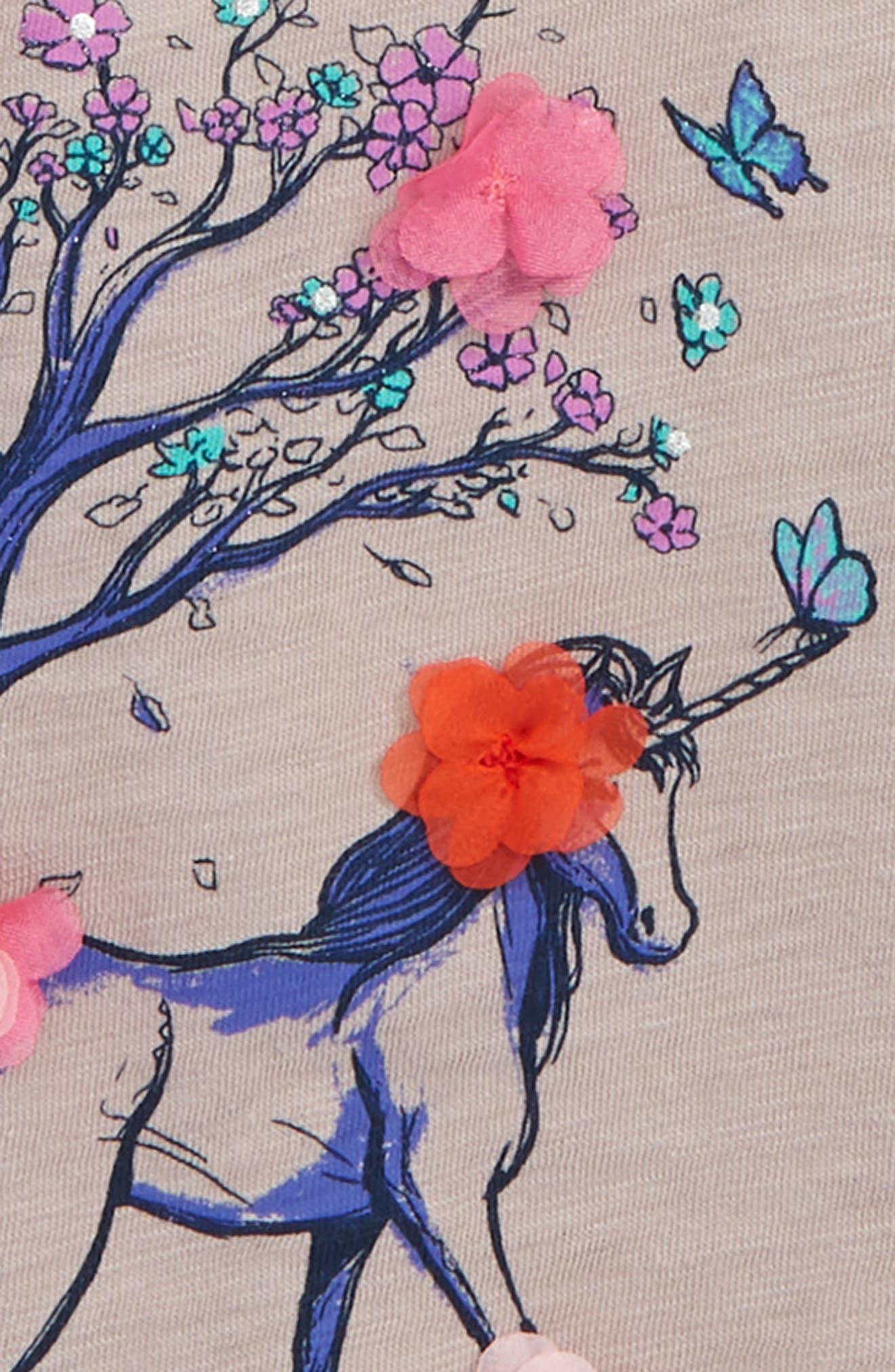 ,                             Peek Flower Unicorn Flutter Sleeve T-Shirt,                             Alternate thumbnail 3, color,                             500