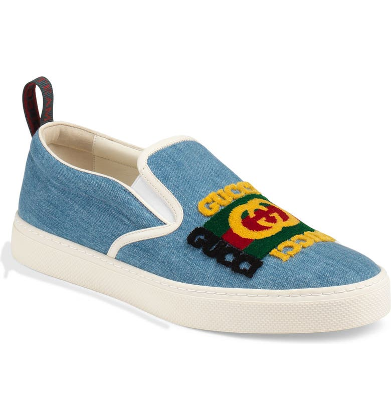 GUCCI Dublin Slip-On Sneaker, Main, color, BLUE/ BLACK