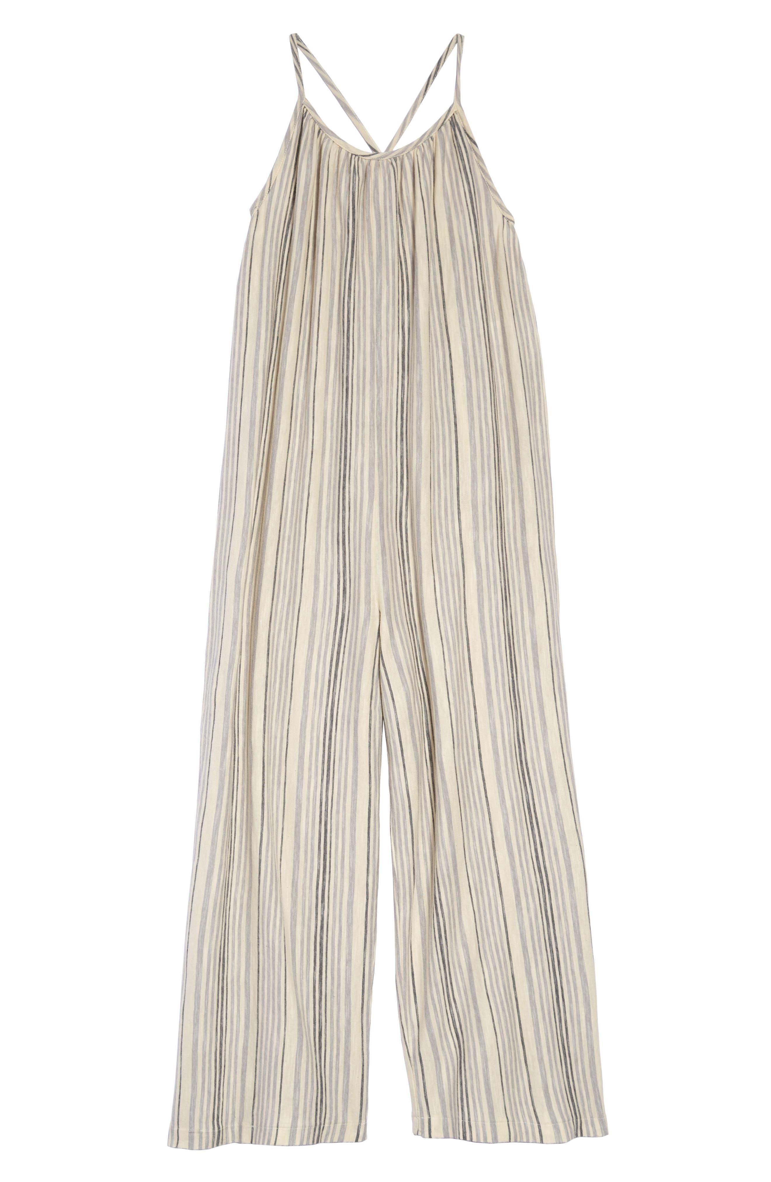 ,                             Stripe Easy Jumpsuit,                             Main thumbnail 1, color,                             BEIGE ANGORA MULTI STRIPE