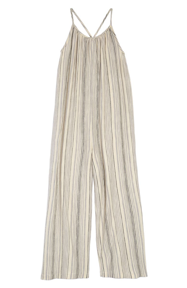TREASURE & BOND Stripe Easy Jumpsuit, Main, color, BEIGE ANGORA MULTI STRIPE