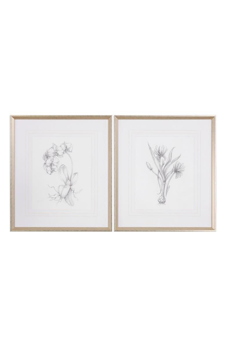 UTTERMOST Botanical Sketch Set of 2 Art Prints, Main, color, WHITE