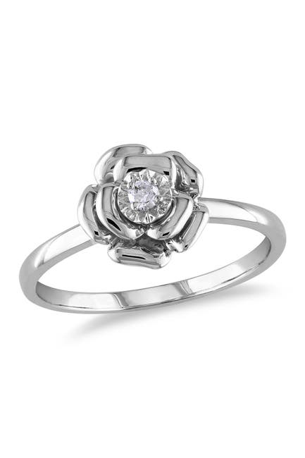 Image of Delmar Sterling Silver Diamond Flower Ring - 0.05 ctw