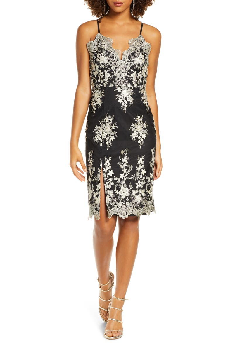 CHI CHI LONDON Hally Metallic Floral Embroidered Cocktail Dress, Main, color, BLACK