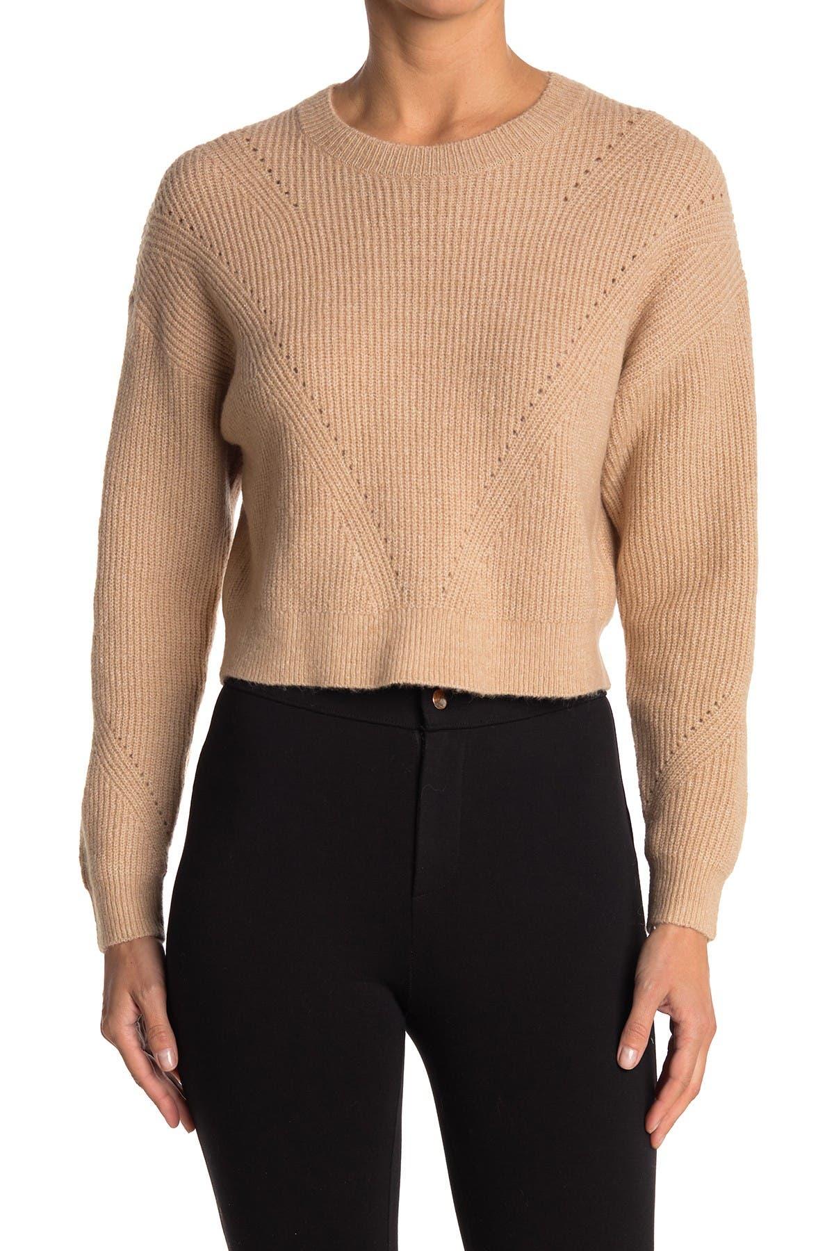 Image of Elodie Crew Neck Crop Pullover Sweater