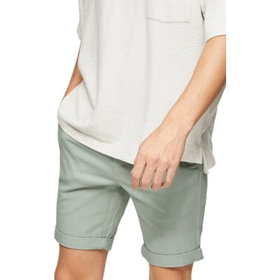 Topman Stretch Skinny Chino Shorts, Green