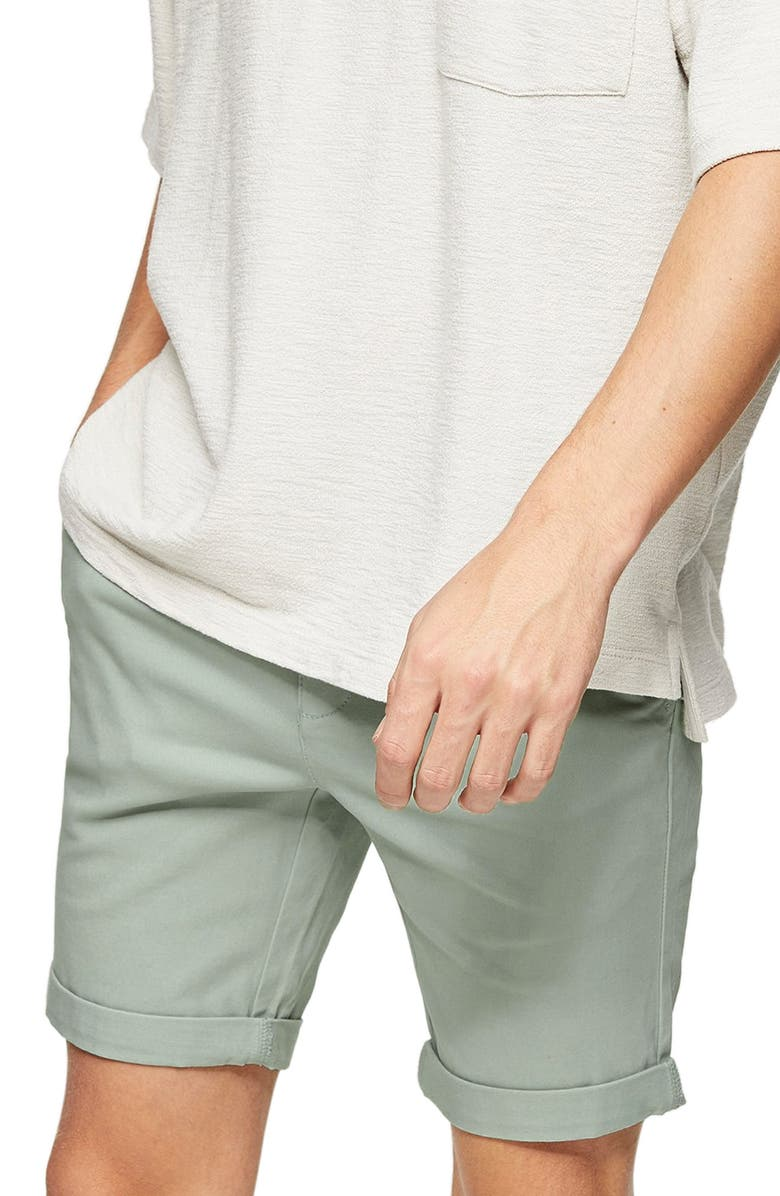 TOPMAN Stretch Skinny Chino Shorts, Main, color, SAGE GREEN
