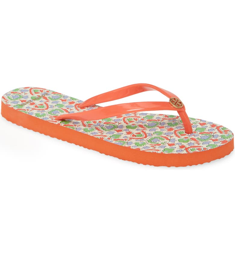TORY BURCH Thin Flip Flop, Main, color, POPPY RED / LEGACY PAISLEY