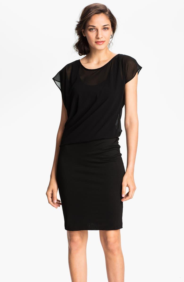 VELVET BY GRAHAM & SPENCER Blouson Bodice Chiffon & Jersey Dress, Main, color, 001
