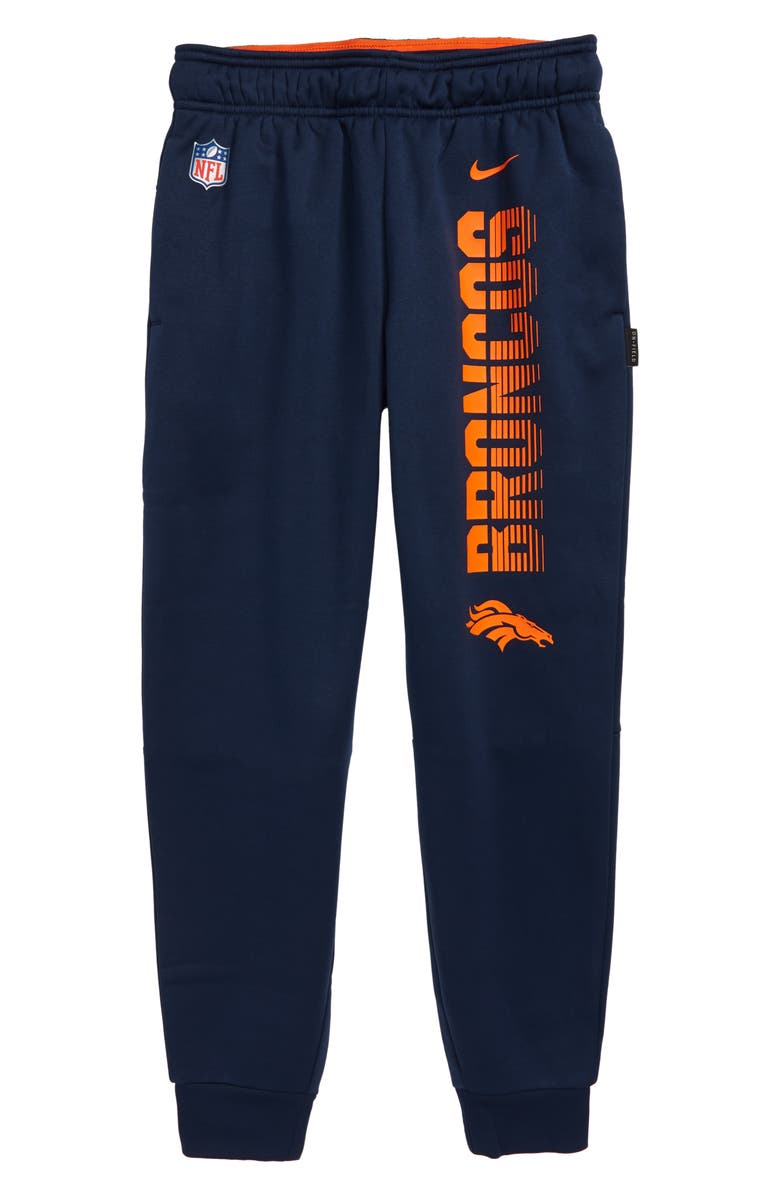 NIKE NFL Logo Denver Broncos Therma Dri-FIT Pants, Main, color, COLLEGE NAVY