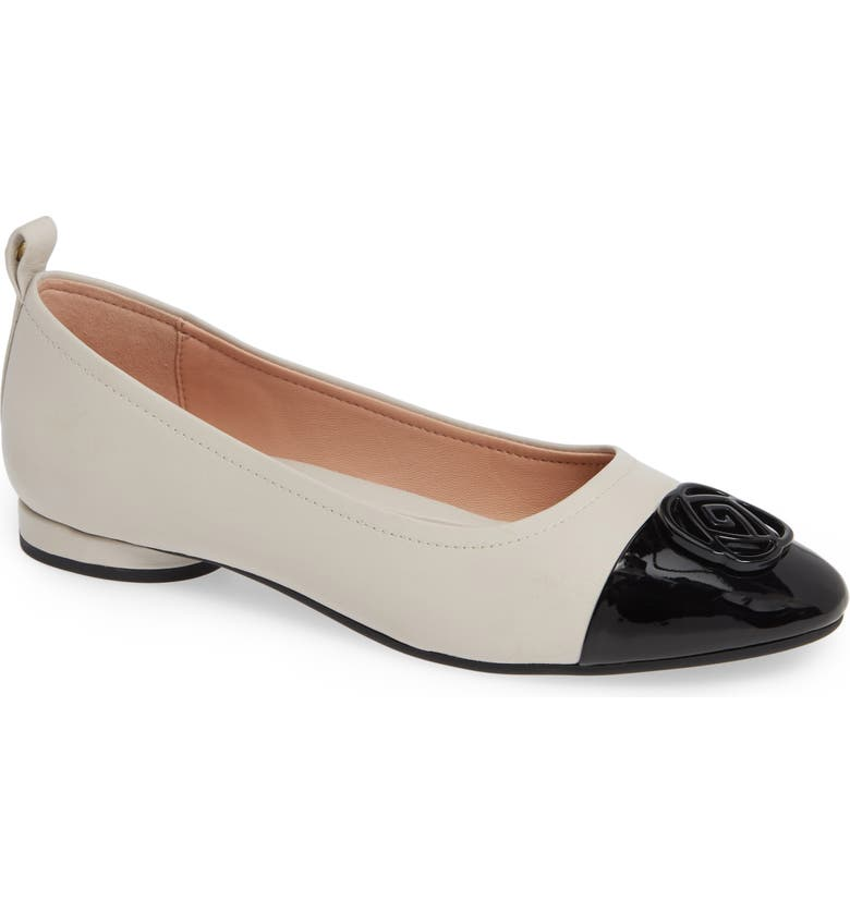TARYN ROSE Penelope Cap Toe Ballet Flat, Main, color, CHALK NAPPA LEATHER
