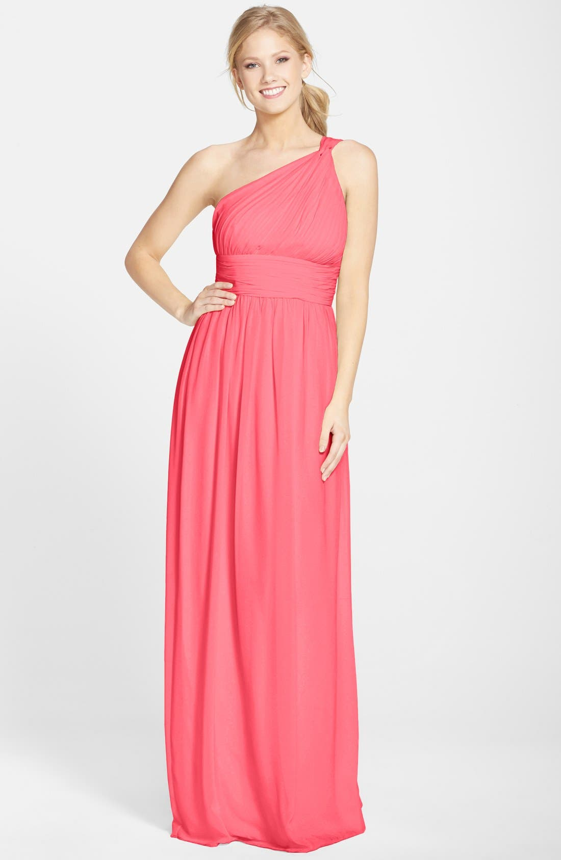 ,                             'Rachel' Ruched One-Shoulder Chiffon Gown,                             Main thumbnail 131, color,                             805