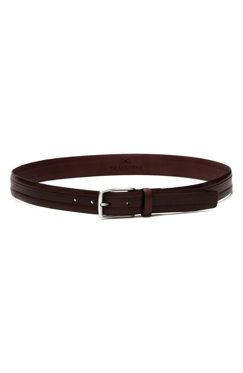 TRAFALGAR Leather Belt, Main, color, BROWN