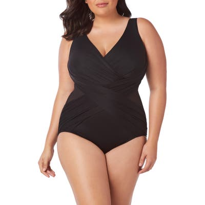 Plus Size Miraclesuit Illusionist Crossover One-Piece Swimsuit, Black