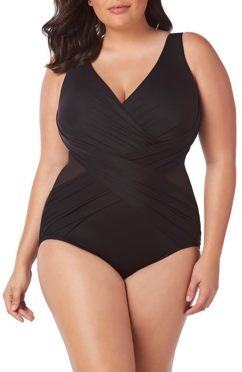 MIRACLESUIT<SUP>®</SUP> Illusionist Crossover One-Piece Swimsuit, Main, color, BLACK
