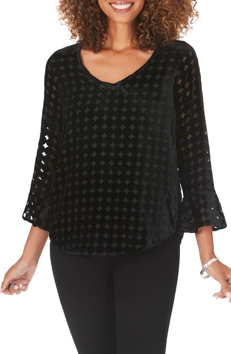 FOXCROFT Karina V-Neck Velvet Burnout Top, Main, color, BLACK