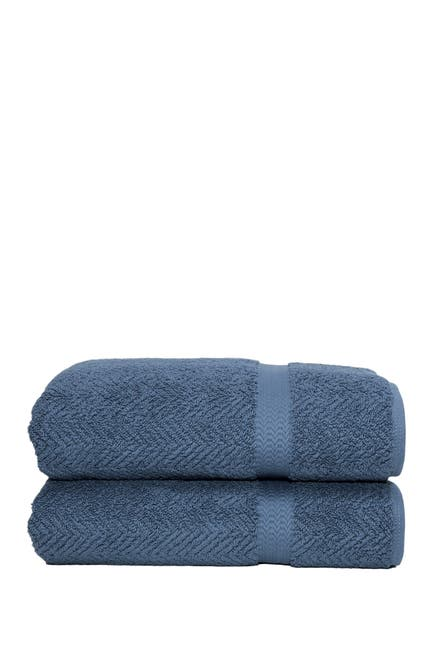 Image of LINUM HOME Midnight Blue Herringbone Bath Sheet - Set of 2