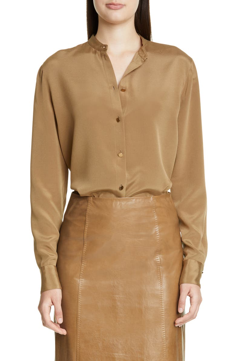 ST. JOHN COLLECTION Stretch Silk Crepe Blouse, Main, color, TOBACCO