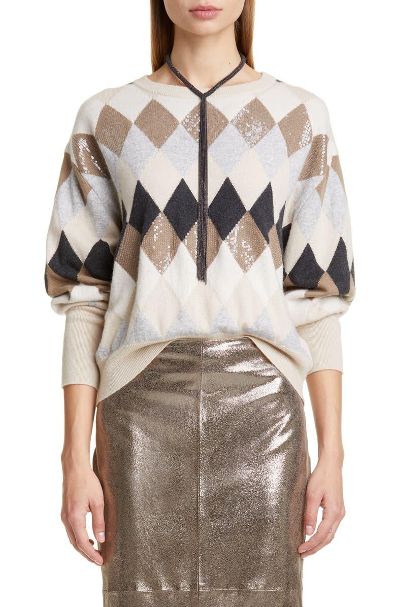BRUNELLO CUCINELLI Sequin Argyle Sweater, Main, color, 900