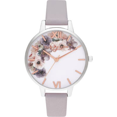 Olivia Burton Watercolor Florals Leather Strap Watch,