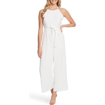 Cece Ruffle Trim Belted Wide Leg Jumpsuit, White