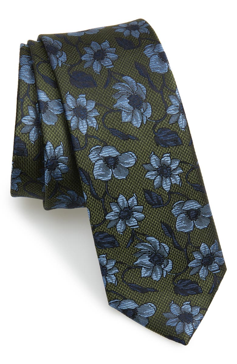 THE TIE BAR Power Floral Silk Tie, Main, color, OLIVE GREEN