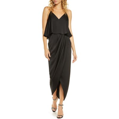 Shona Joy Luxe Frill Tulip Hem Maxi Dress, Black