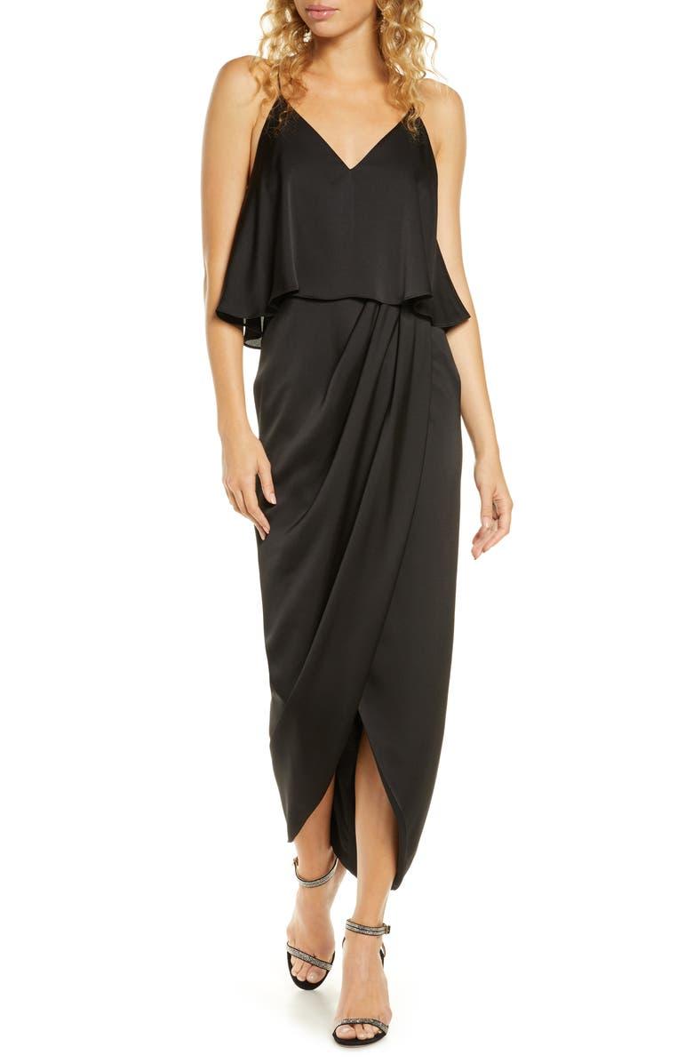 SHONA JOY Luxe Frill Tulip Hem Maxi Dress, Main, color, ONYX