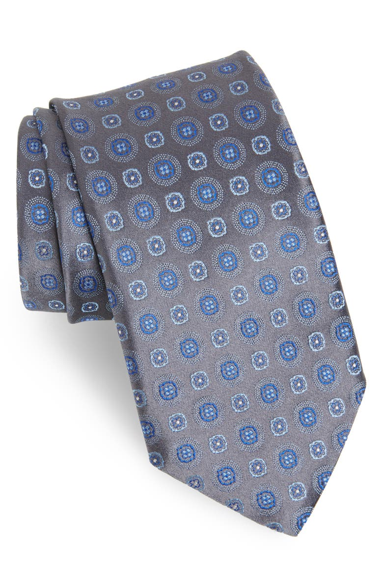 CANALI Medallion Silk Tie, Main, color, CHARCOAL