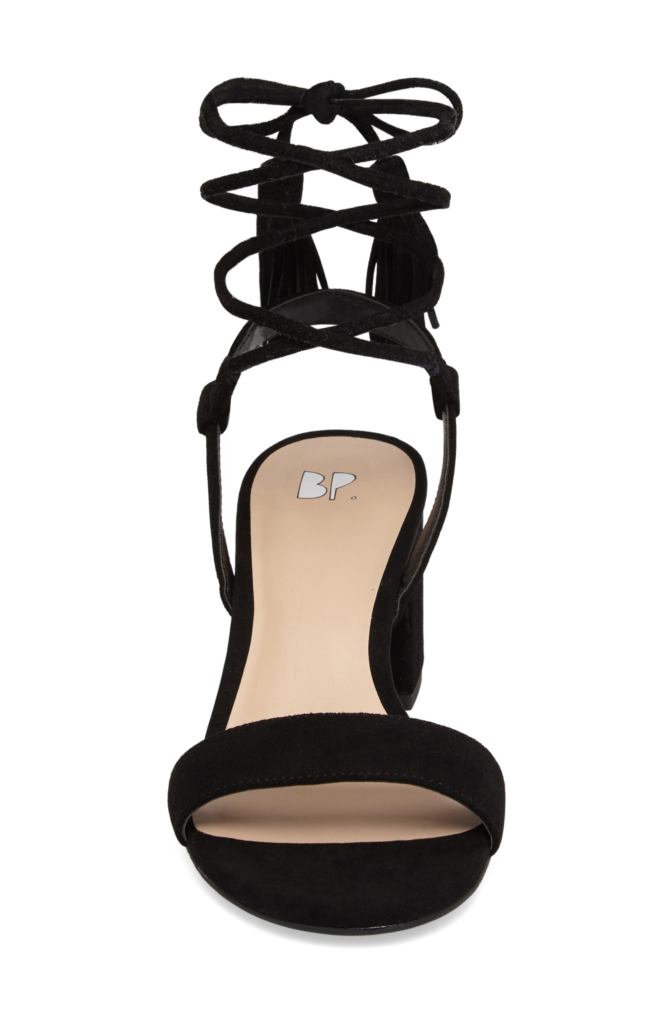 ,                             Karla Block Heel Ankle Wrap Sandal,                             Alternate thumbnail 4, color,                             001