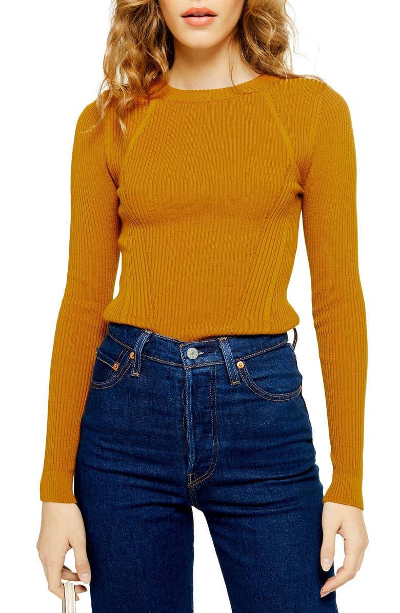 TOPSHOP Ribbed Sweater, Main, color, MUSTARD