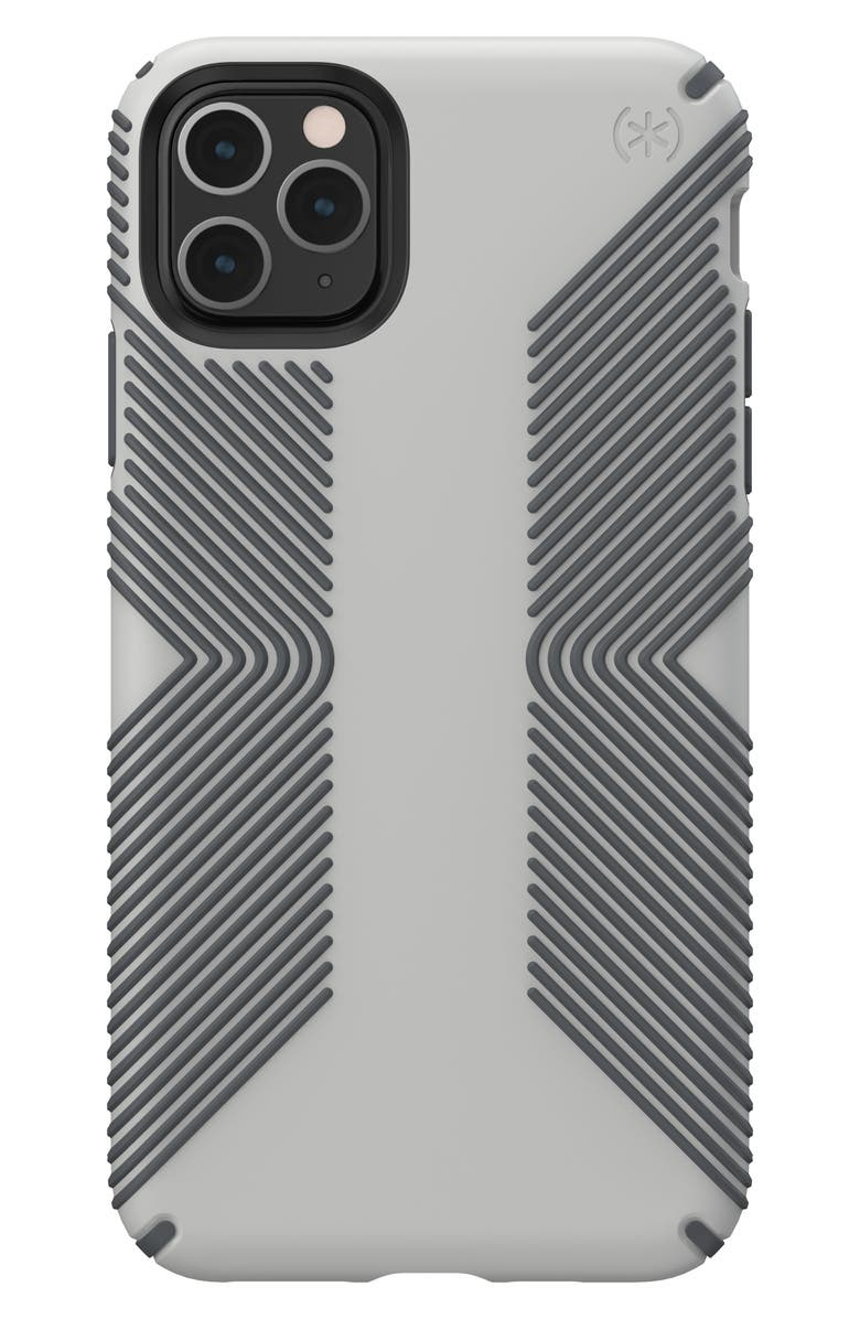 SPECK Presidio Grip iPhone 11/11 Pro/11 Pro Max Case, Main, color, MARBLE GREY/ ANTHRACITE GREY