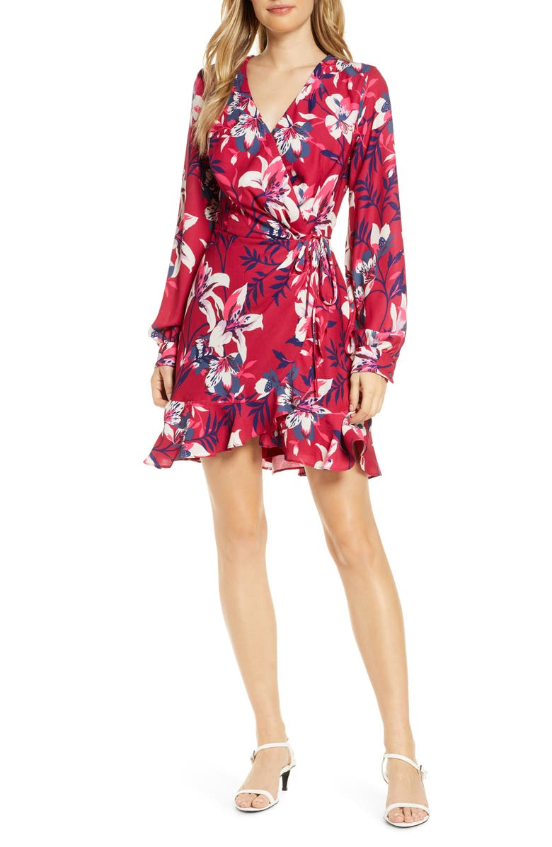 ADELYN RAE Shayne Long Sleeve Floral Faux Wrap Dress, Main, color, CHERRY PINK