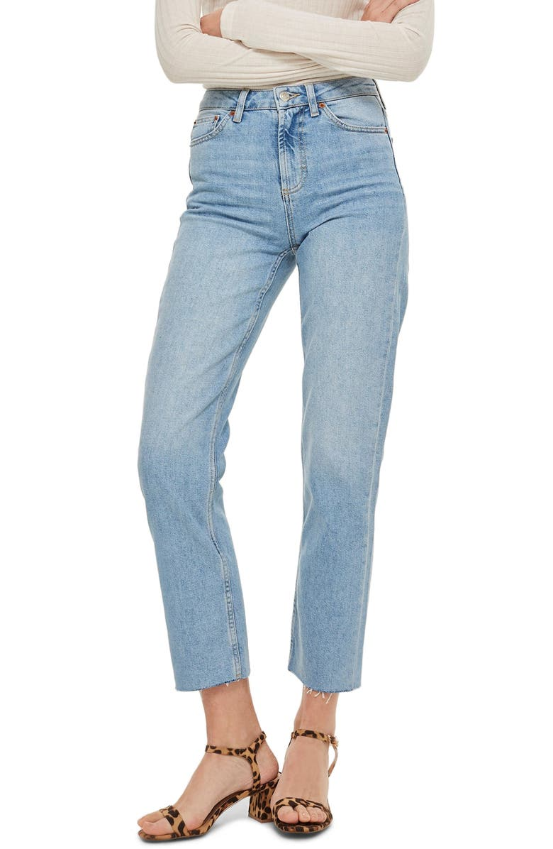 TOPSHOP High Waist Raw Hem Straight Leg Jeans, Main, color, BLEACH