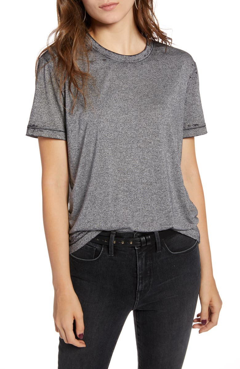 TREASURE & BOND Marled Tee, Main, color, BLACK HEATHER