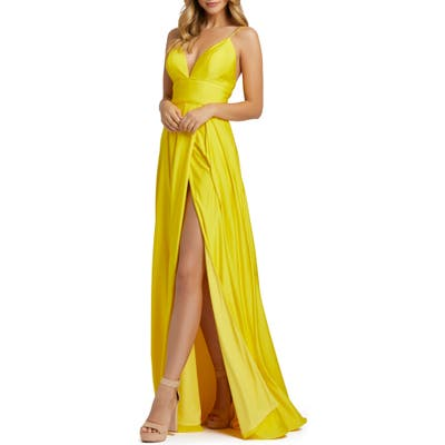 MAC Duggal Plunge Neck Pleated Gown, Yellow