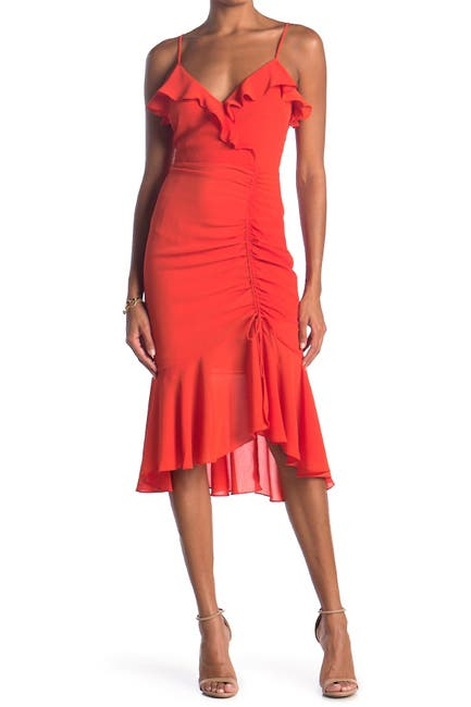 Image of Lush Ruched Asymmetrical Midi Dress