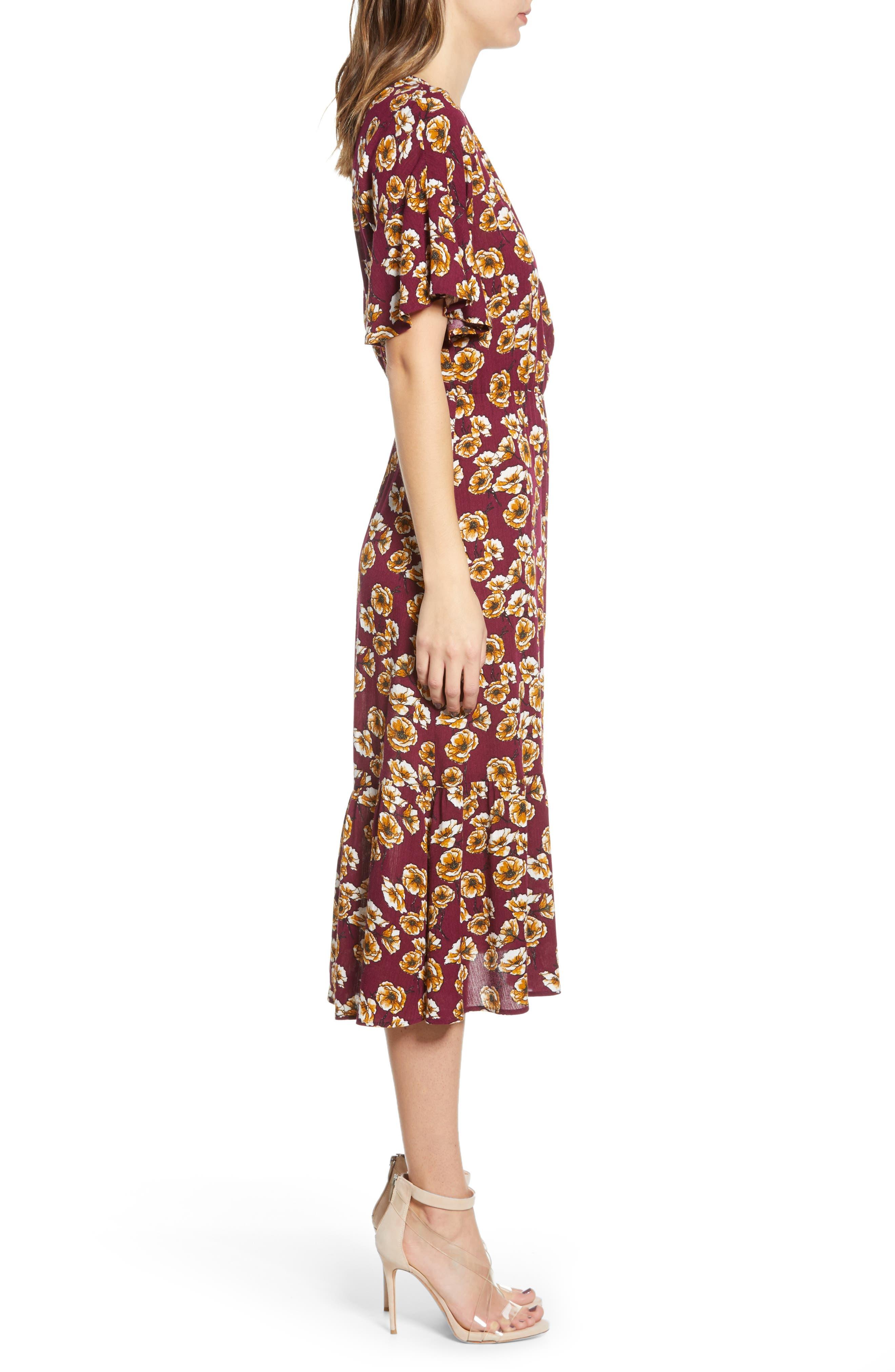 ,                             Surplice Midi Dress,                             Alternate thumbnail 4, color,                             BERRY/ GOLD FLORAL