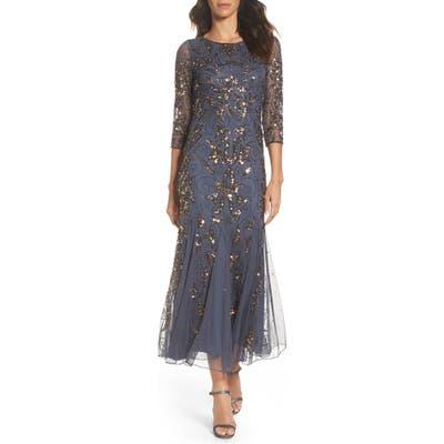 Pisarro Nights Embellished Mesh Gown, Grey
