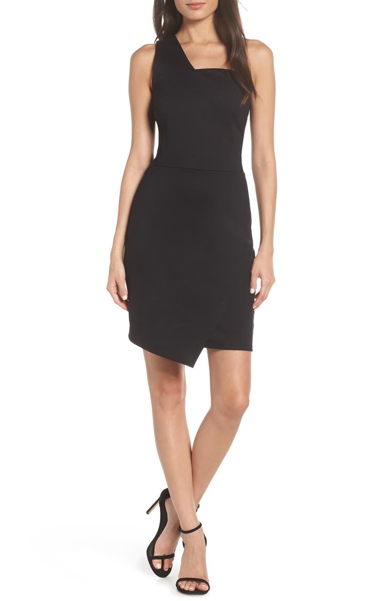 FRAICHE BY J One Shoulder Jersey Dress, Main, color, BLACK