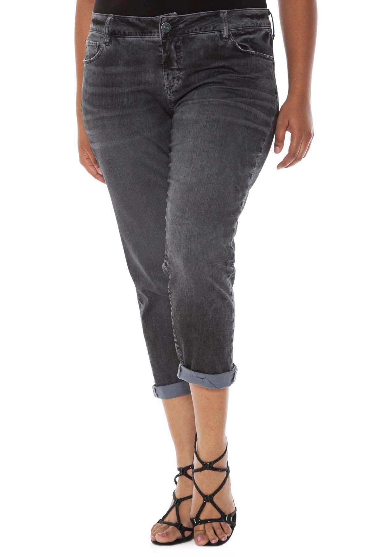 Image of SLINK JEANS Roll Stretch Crop Boyfriend Jeans