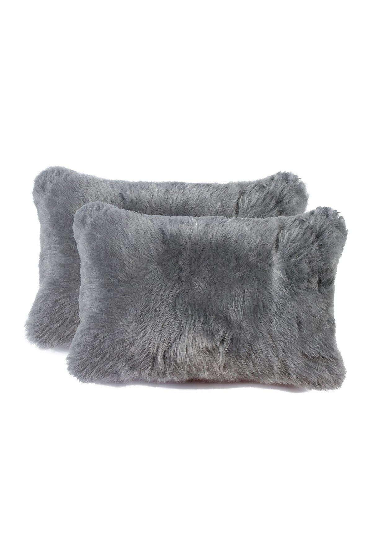 Image of Natural New Zealand 12x20 Genuine Sheepskin Pillow - Set of 2 - Gray
